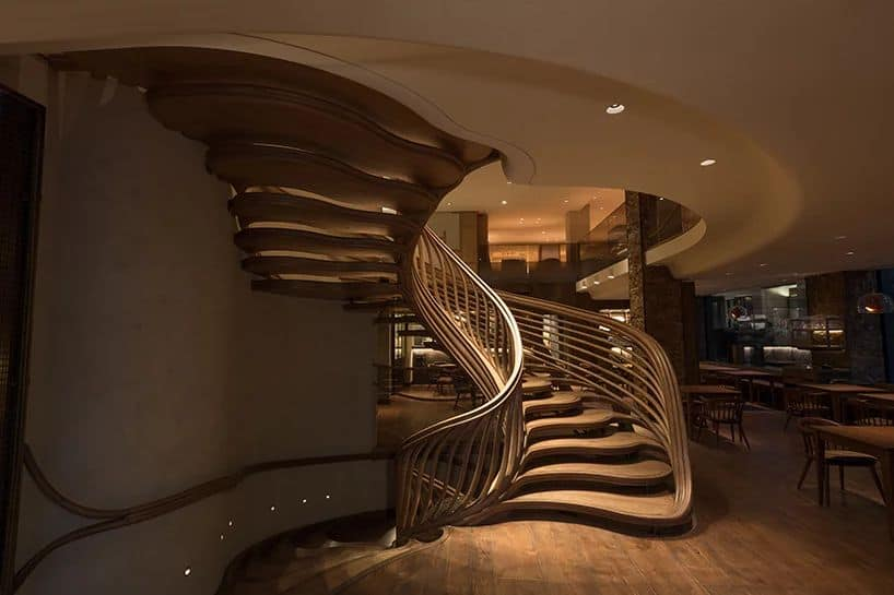 Atmos Studio Designed  Mesmerising Plant-like Structure Staircase For HIDE bar -wood, stairs, Interior decor, interior, gohome, furniture
