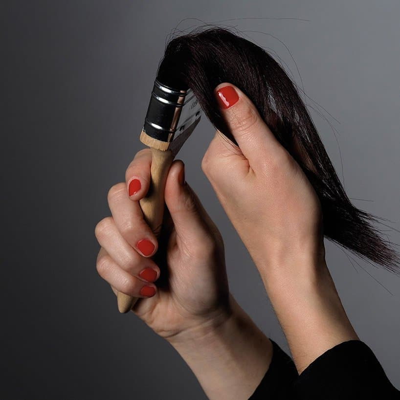 Hair Paintbrushes By Helge Simon Show The Complexity And Absurdity Of Human Emotional Needs -kickstarter, hair, brush