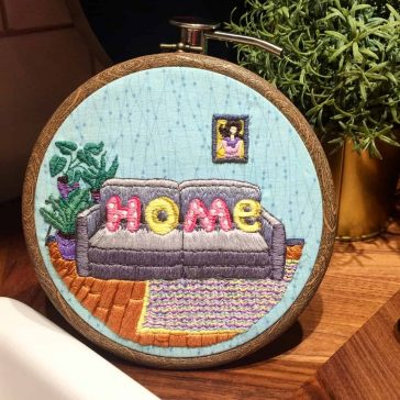 A Russian Artist Designs Colorful Embroidery of Home Interiors -textile, gohome, embroidery
