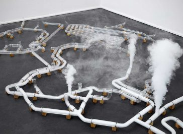 Dutch Artist Jeroen Van Loon Uses Smoke and Glass tubes to Depict Internet -web, tube, internet, installation, gohome