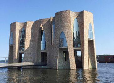Olafur Eliasson's Recent Structure Only Accessible by Footbridge in a Danish Fjord -Denmark, building